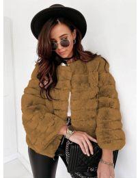 Дамско късо палто в кафяво - код 7676