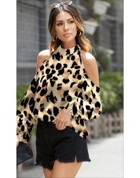 Дамска блуза с ефектен десен в бежово - код 1193