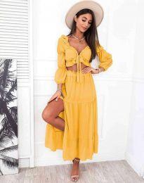 Дамски комплект къс топ с дълъг ръкав и дълга пола с висока талия в цвят горчица - код 3954