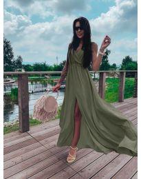 Дълга рокля с цепка в маслено зелено - код 1174