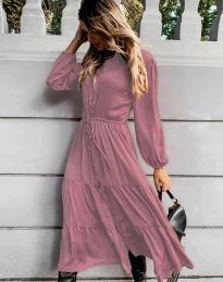Дамска рокля в цвят пудра - код 6522