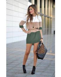 Свободна дамска рокля в маслено зелено - код 2298