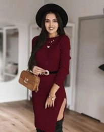Дамска рокля в цвят бордо - код 0956