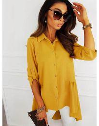 Асиметрична риза в цвят горчица - код 5689