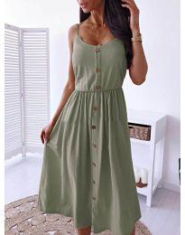 Изчистена рокля цвят маслено зелено  -  код 5057