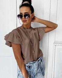 Дамска тениска с къдрички в цвят капучино с ефектни ръкави - код 4669
