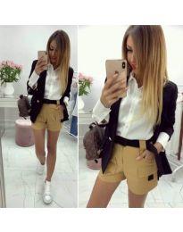 Дамски къси панталони - код 010 в бежов цвят