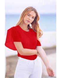 Изчистена дамска тениска с интересен ръкав в червено - код 527