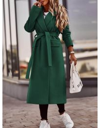 Дамско палто с колан в маслено зелено - код 7989