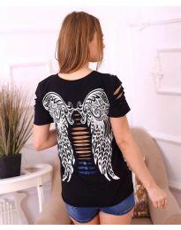 Дамска тениска с крила и ефектни нарязвания в черно - код 3568