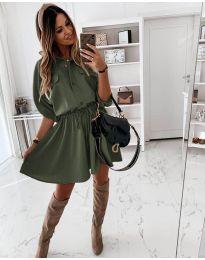 Свободна дамска рокля в маслено зелено - код 8586