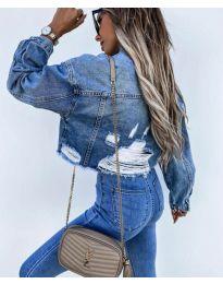 Дънково дамско яке в синьо с накъсан ефект - код 4280