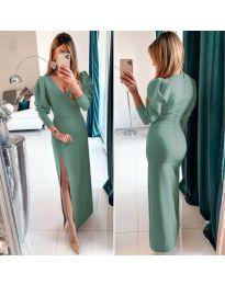 Дълга рокля с цепка в зелен цвят - код 210