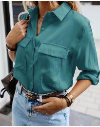 Изчистена дамска риза в цвят тюркоаз - код 6148