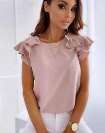 Блуза с ефектни ръкави в цвят пудра - код 3299