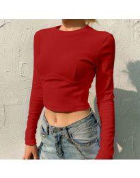 Къса дамска блуза в червено - код 1124