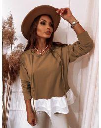 Дамска блуза в цвят капучино - код 3898