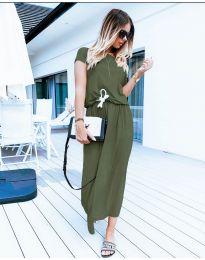 Изчистена рокля в маслено зелено - код 4151