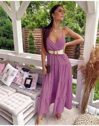 Свободна дълга рокля в цвят пудра - код 719
