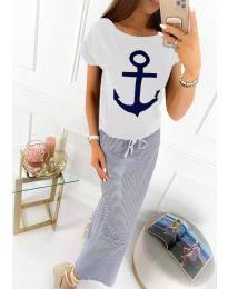 Дълга рокля в моряшки стил - код 6010