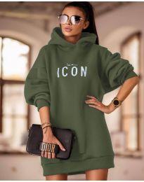 Свободна дамска рокля в маслено зелено - код 9333