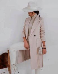 Елегантно дамско палто в бежово - код 1695