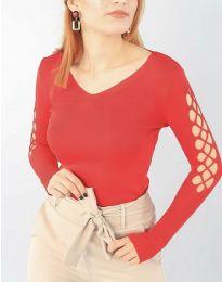 Блуза с ефектни ръкави в червено - код 6776