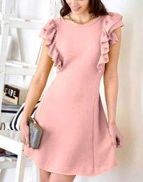 Дамска рокля в цвят пудра с къдрички - код 7111