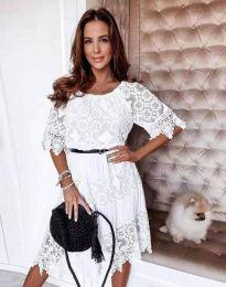 Дамска рокля с дантела в бяло - код 6979