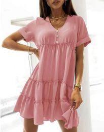 Свободна къса рокля в розово - код 7205