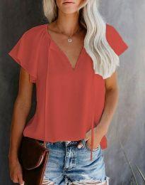 Елегантна дамска тениска в цвят бкорал - код 6474