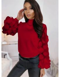 Блуза - код - 3505 - червено