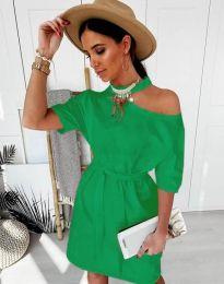 Дамска рокля в зелено с голо рамо - код 5848