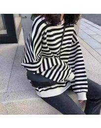Широка блуза в черно бели райета - код 842 - 3