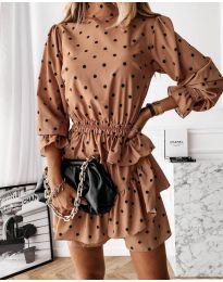 Дамска рокля в прасковен цвят - код 3665
