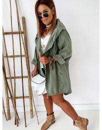 Свободно дамско яке в маслено зелено - код 8686
