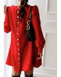Изчистена дамска рокля в червен цвят - код 915