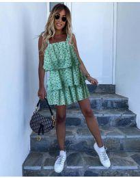 Свободна къса дамска рокля в зелено - код 6140