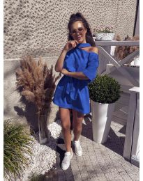 Свободна дамска рокля в синьо - код 022