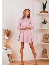 Свободна дамска рокля в  розово - код 6619