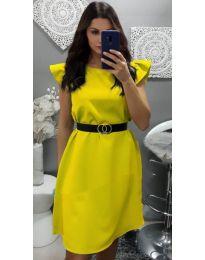 Елегантна рокля с къс ръкав в жълто - код 703