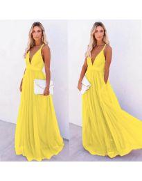 Ефирна дълга рокля в жълто - код 5587