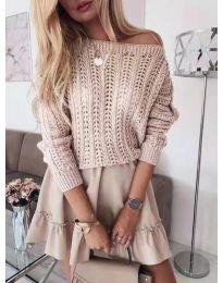 Плетена дамска блуза в бежово - код 917
