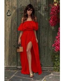 Дълга рокля с цепка в червено - код 3336