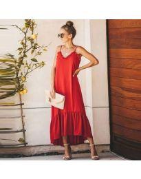 Червена дамска рокля с тънки презрамки - код 558