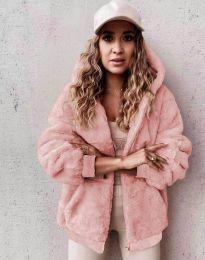 Пухкаво дамско палто в розово - код 5489