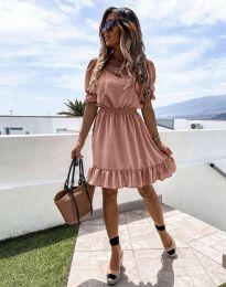 Кокетна рокля в цвят пудра - код 6460