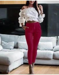 Дамски слим панталон в цвят бордо - код 094