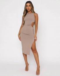 Атрактивна дамска рокля в бежово - код 11937