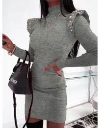 Елегантна рокля по тялото в тъмно сиво - код 2323